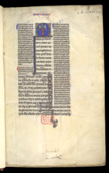 Historiated Initial With The Symbol Of Matthew, In A Glossed Gospels